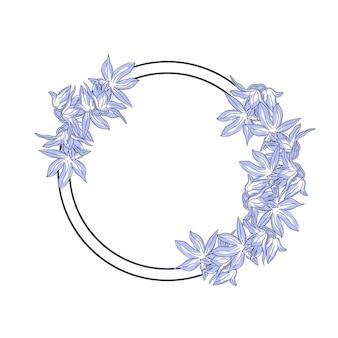 Moldura redonda com flores desenhadas à mão