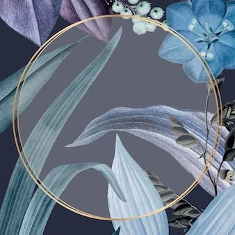 Moldura redonda com folhas azuis