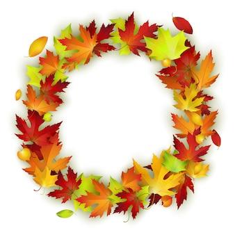 Moldura redonda com folhas de outono coloridas