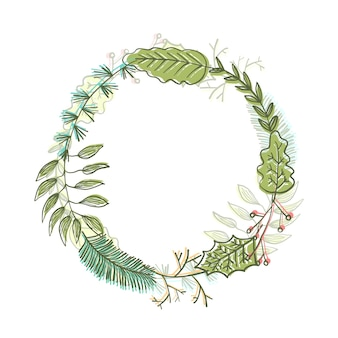 Moldura redonda com folhas e galhos verdes de doodle