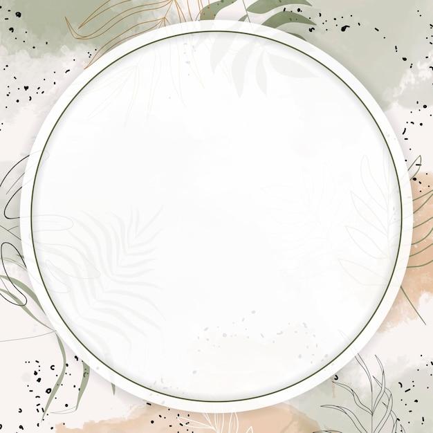Moldura redonda com folhas em aquarela