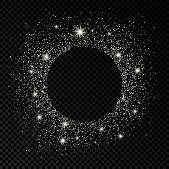 Moldura redonda com glitter prata em fundo escuro transparente. fundo vazio. ilustração vetorial.