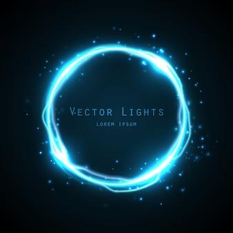 Moldura redonda com muitas partículas de brilho e efeito de eletricidade