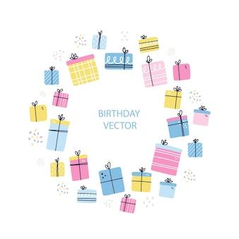 Moldura redonda com presentes. hand ilustração vetorial desenhada. conceito de presente de feliz aniversário para cartão, banner