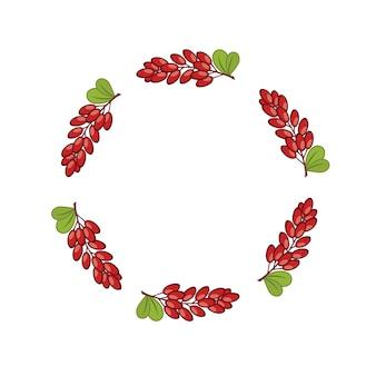 Moldura redonda com um ramo de bérberis. cartaz com frutas silvestres. impressão em tecido e roupas.