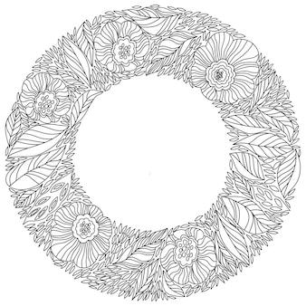 Moldura redonda de contorno decorativo de flores e folhas.
