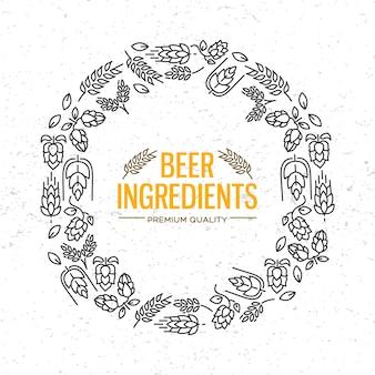 Moldura redonda de design elegante com ícones de flores, galhos de lúpulo, flores e malte ao redor das palavras ingredientes de cerveja no centro