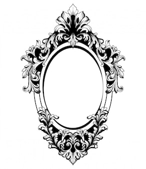 Moldura redonda de espelho barroco