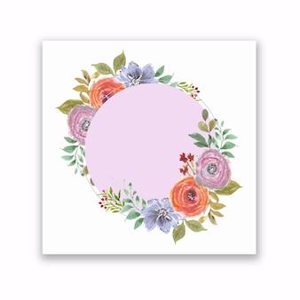 Moldura redonda de flores de verão com aquarela