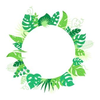 Moldura redonda de folhas tropicais