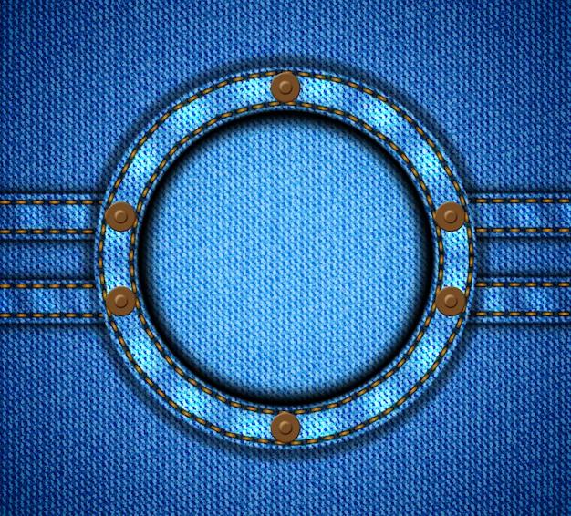 Moldura redonda de jeans com rebites
