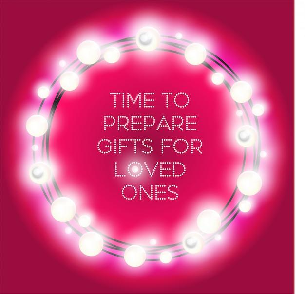 Moldura redonda de luzes de natal. círculo colorido guirlandas em magenta