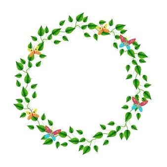 Moldura redonda de margaridas decoradas com borboletas vetoriais flores da primavera desenho à mão
