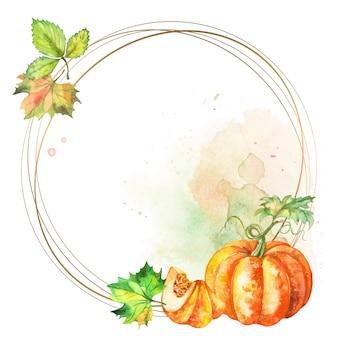 Moldura redonda de ouro com abóbora em aquarela e folhas.