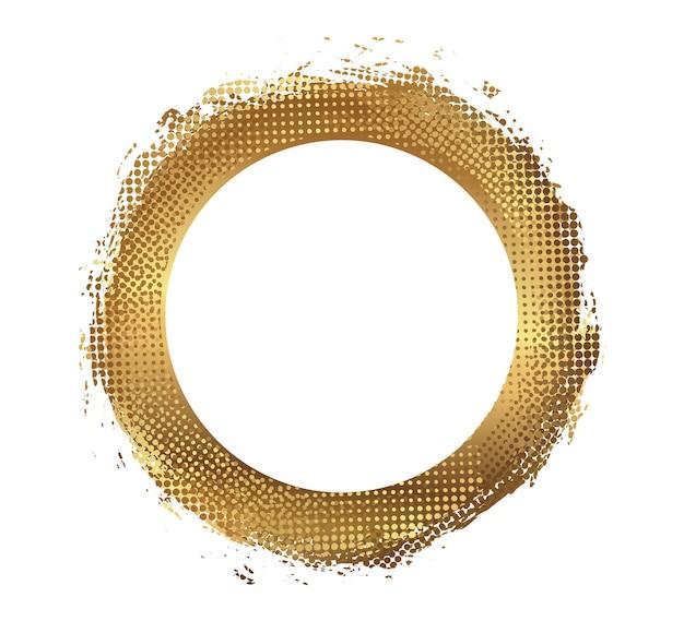 Moldura redonda de ouro grunge