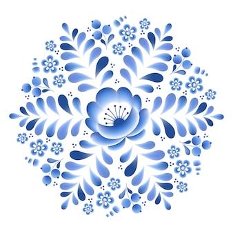 Moldura redonda de porcelana russa floral de flores azuis com belos ornamentos folclóricos. ilustração. composição decorativa.
