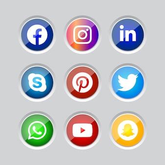Moldura redonda de prata brilhante botão de ícones de mídia social com efeito de gradiente definido para uso online ux ui