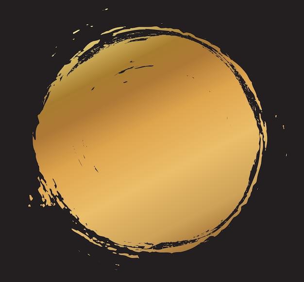 Moldura redonda de tinta dourada