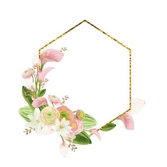 Moldura redonda dourada com flores em aquarela rosa