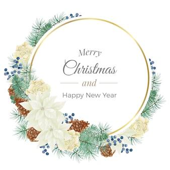 Moldura redonda dourada de feliz natal em aquarela com poinsétia branca