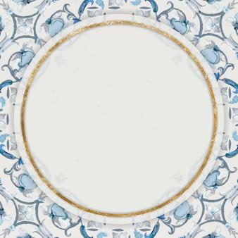 Moldura redonda dourada em azul marinho