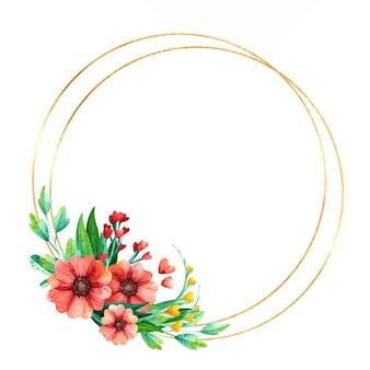 Moldura redonda dourada vazia com flores da primavera.