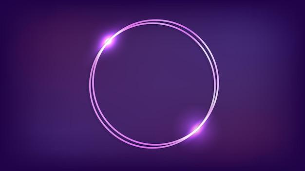 Moldura redonda dupla de néon com efeitos brilhantes em fundo escuro. pano de fundo vazio de techno brilhante. ilustração vetorial.