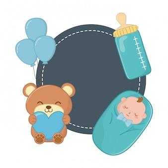 Moldura redonda e elementos de bebê