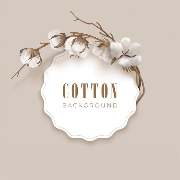 Moldura redonda e local para texto com algodão sobre fundo claro. botões de algodão branco e galho marrom. ilustração vetorial