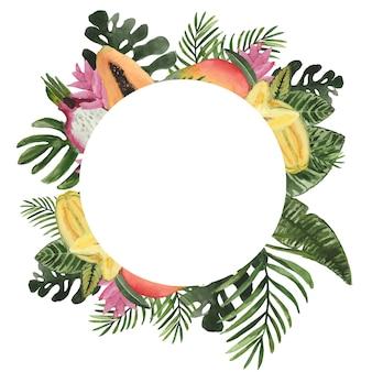 Moldura redonda em aquarela com folhas e frutas tropicais