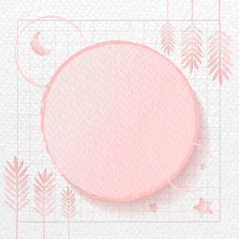 Moldura redonda em botânico rosa