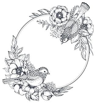 Moldura redonda em preto e branco com buquês de flores, botões e folhas de anêmona desenhados à mão