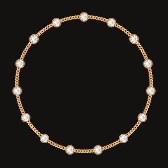 Moldura redonda feita com corrente de ouro e pedras preciosas