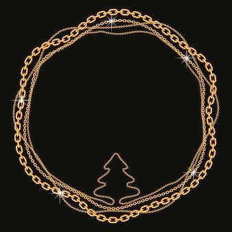 Moldura redonda feita com correntes douradas torcidas em forma de árvore