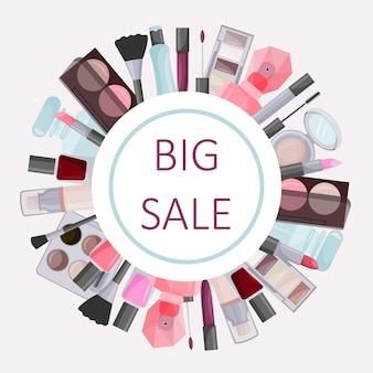 Moldura redonda feita de cosméticos decorativos publicidade de um elemento de design de venda a
