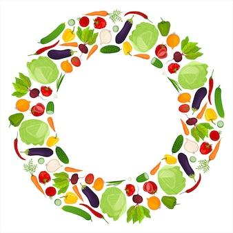Moldura redonda feita de legumes frescos. publicidade de grande venda. um elemento de design. vetor.