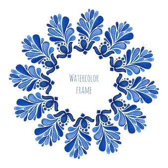Moldura redonda floral azul tradicional no estilo russo gzhel ou estilo holandês