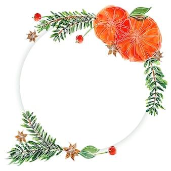 Moldura redonda floral de natal com árvore de abeto e laranjas