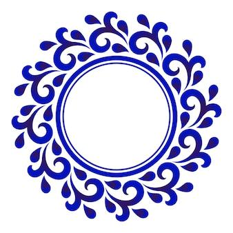 Moldura redonda floral decorativa