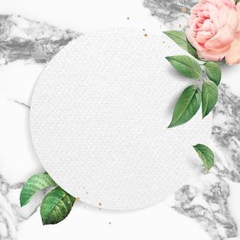 Moldura redonda floral em branco