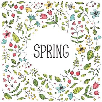 Moldura redonda linda delicada primavera. flores e plantas desabrochando, folhas e galhos.