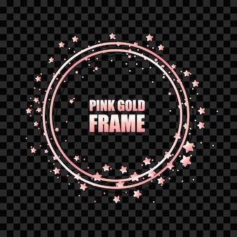 Moldura redonda realista metálica rosa ouro