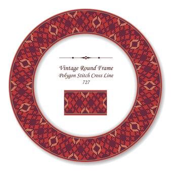 Moldura redonda retro vintage com ponto cruzado de ponto de polígono vermelho, estilo antigo