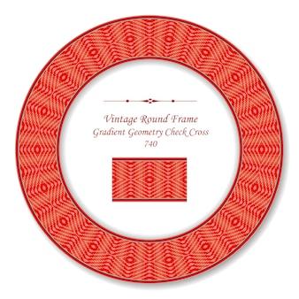 Moldura redonda retro vintage diamante gradiente vermelho verificar geometria cruz, estilo antigo