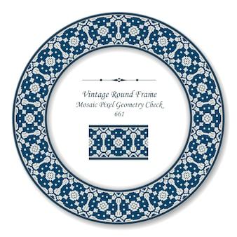 Moldura redonda retro vintage mosaico geometria de pixel caleidoscópio, estilo antigo