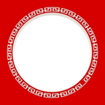 Moldura redonda sobre fundo vermelho