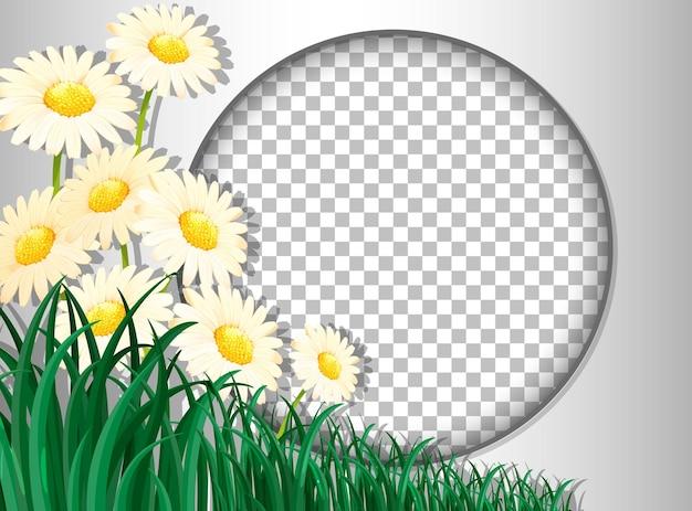 Moldura redonda transparente com flores tropicais e modelo de folhas