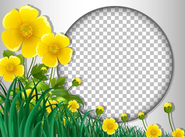 Moldura redonda transparente com modelo de flores e folhas amarelas