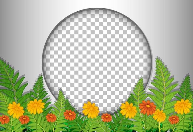 Moldura redonda transparente com modelo de flores e folhas