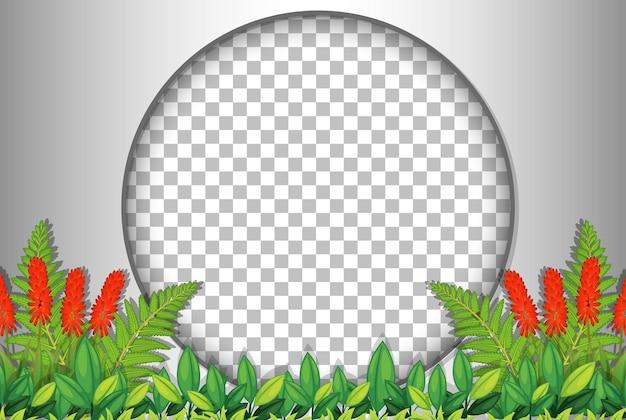 Moldura redonda transparente com modelo de folhas tropicais